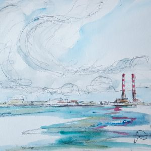 White clouds & blue skies over the Chimneys of Poolbeg