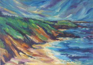 Crashing waves on golden sands,Wicklow