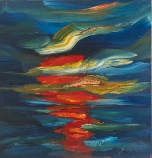 Red Moonlight on midnight blue seas