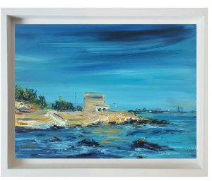 Artist's description: Blue skies over Summerseas - Swiming at Seapoint, Dublin is a painting of the famous Dublin swimming spot at Seapoint near Blackrock, Dublin, with it's views of Howth and Dun Laoghaire and the historic Martello tower this is a year round attraction.. Painted from sketches on a summer's afternoon, I used generous sweeps of Paint applied with a palette knife coupled with soft brush marks.. to create texture and atmosphere This painting is oil on board and than float mounted and framed as shown.. This painting comes with a signed certificate of Authenticity Carefully packed and couriered directly to you Materials used: oil Buy these two artworks together and save 10% + Buy both artworks together: €452.47 Saving of €50.28 Oil painting by Niki Purcell - Irish Landscape Painting: €250.00 Oil painting by Jackie Smith: €252.75 Blue skies over Summer seas - Swiming at Seapoint, Dublin